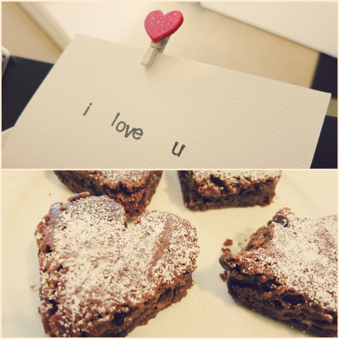 Homemade vegan brownies and a card for him~