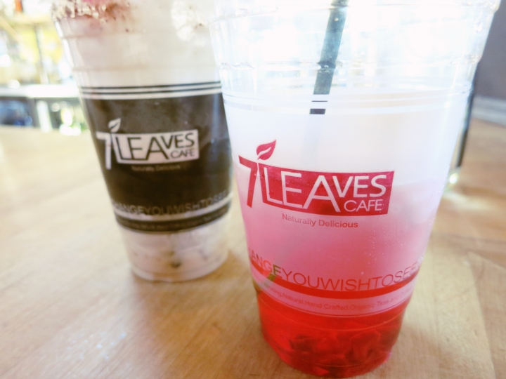 Strawberry hibiscus tea for me, vietnamese coffee for him~