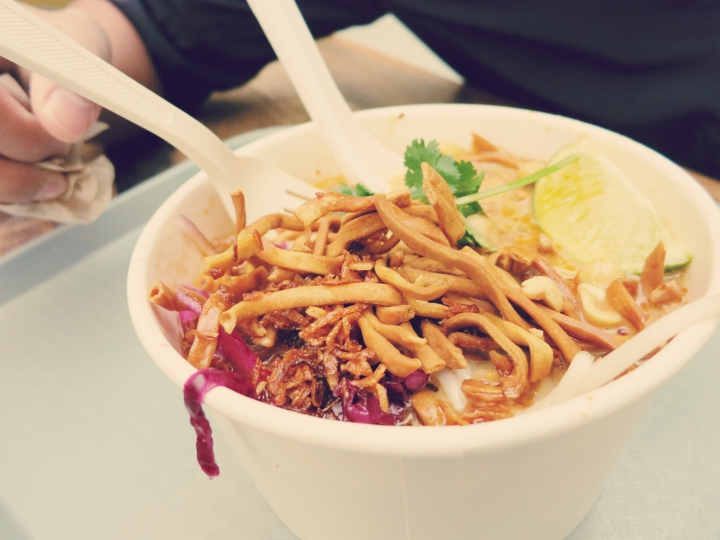 """chicken soup from """"Noodle Tramp"""": $8"""